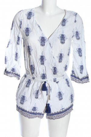 Review Kurzer Jumpsuit white-blue abstract pattern casual look
