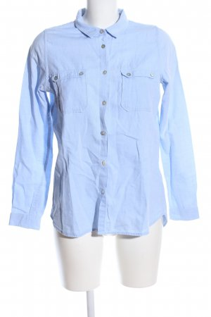 Review Langarm-Bluse blau Business-Look