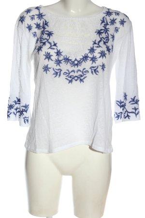 Review Camicetta a maniche lunghe bianco-blu motivo floreale stile casual
