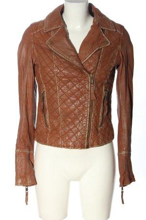 Review Veste en cuir brun motif de courtepointe style décontracté