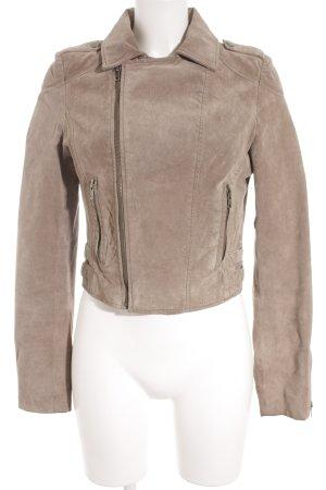 Review Giacca in pelle marrone-grigio stile casual