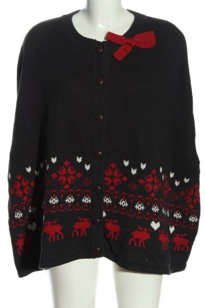 Review Poncho schwarz-rot Motivdruck Casual-Look