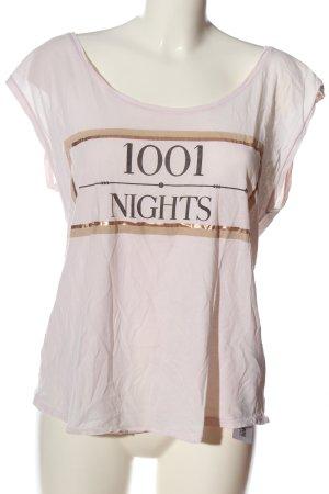 Review Print-Shirt pink Schriftzug gedruckt Casual-Look