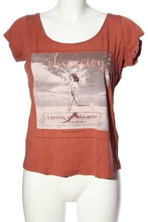 Review T-shirt imprimé orange clair imprimé avec thème style décontracté