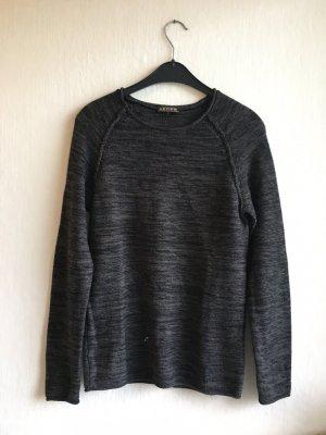 Review Sweter z okrągłym dekoltem ciemnoszary