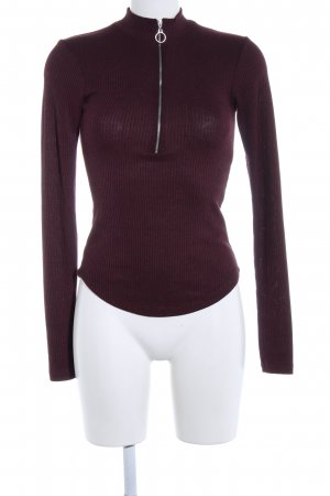 Review Rundhalspullover rot Streifenmuster Casual-Look