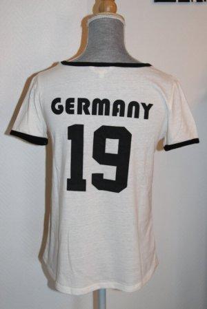 Review T-shirt w kolorze białej wełny-czarny Bawełna