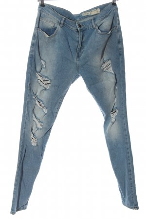 Review Jeans a gamba dritta blu stile casual
