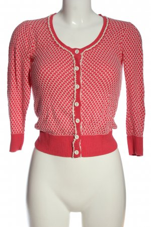 Review Cardigan in maglia rosso-bianco stampa integrale stile casual
