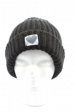 Review Knitted Hat light grey themed print casual look