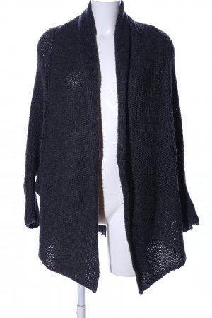 Review Strickponcho schwarz Zopfmuster Casual-Look