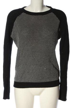 Review Pull tricoté noir-blanc imprimé allover style décontracté