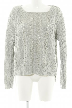 Review Strickpullover hellgrau Zopfmuster Casual-Look