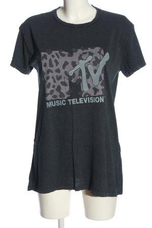 Review T-Shirt schwarz Motivdruck Casual-Look