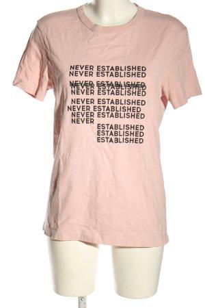 Review T-Shirt pink Schriftzug gedruckt Casual-Look