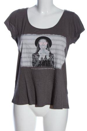 Review T-Shirt schwarz-hellgrau Motivdruck Casual-Look
