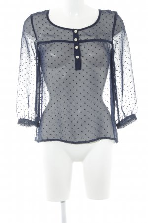 Review Transparenz-Bluse dunkelblau Punktemuster Business-Look