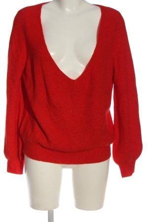 Review V-Ausschnitt-Pullover rot Casual-Look