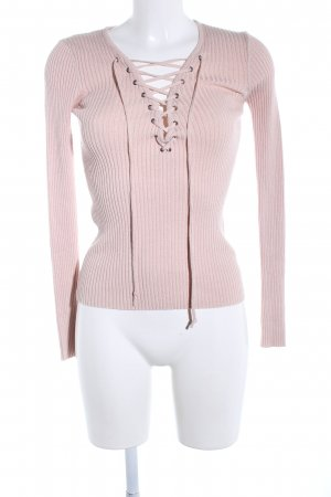 Review V-Ausschnitt-Pullover pink Zopfmuster Casual-Look