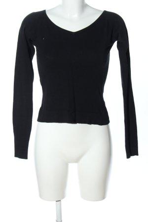 Review V-Ausschnitt-Pullover schwarz Casual-Look