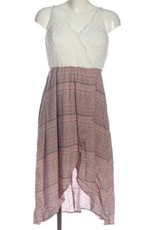 Review Jurk met langere achterkant roze-wit abstract patroon elegant
