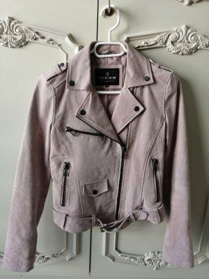 Review Wild-lederjacke in rosa //