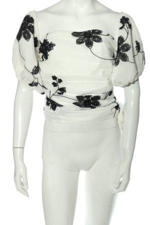 Revolve Carmen-Bluse weiß-schwarz abstraktes Muster Casual-Look