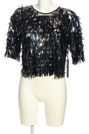 Revolve Kurzarm-Bluse schwarz-lila Farbverlauf extravaganter Stil