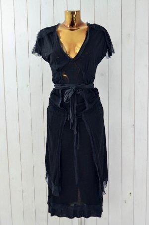 RHUS OVATA Damen Kleid Viskose Jersey Chiffon Stretch Kurzarm Gr.ca.36-38