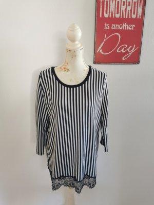 Riani Damen Designershirt Longshirt Spitze gestreift Größe 42
