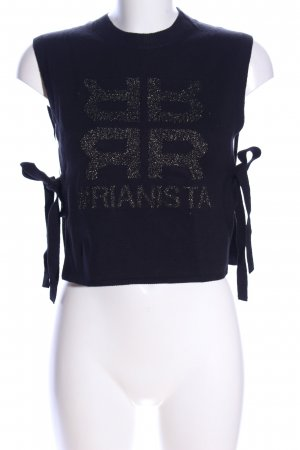Riani Fine Knitted Cardigan black-gold-colored printed lettering casual look
