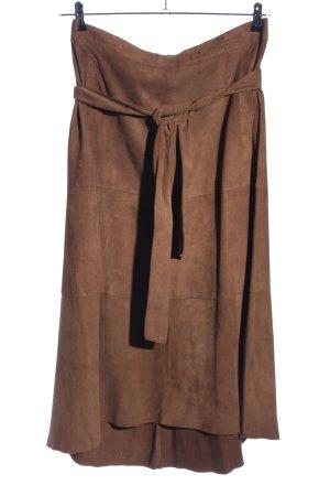 Riani Falda de cuero color bronce estilo «business»