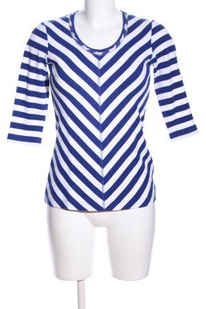 Riani Rundhalspullover weiß-blau Streifenmuster Casual-Look