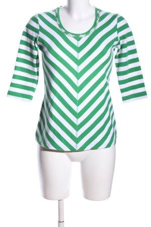 Riani Rundhalspullover weiß-grün Streifenmuster Casual-Look
