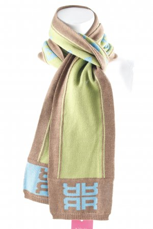 Riani Knitted Scarf light brown-lime-green printed lettering casual look