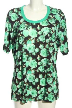 Riani T-Shirt grün-schwarz Blumenmuster Casual-Look