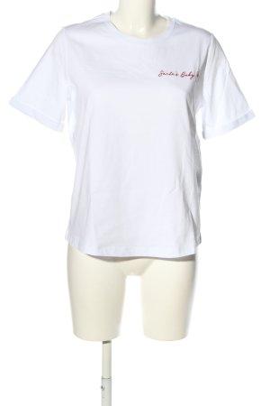 Riani T-Shirt weiß-rot Schriftzug gedruckt Casual-Look