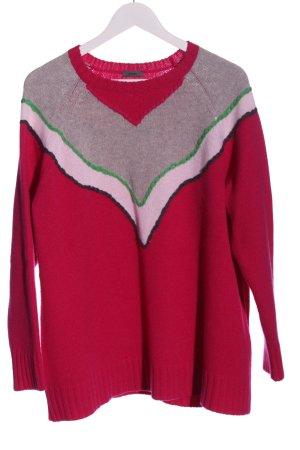 Riani Pull en laine rouge-gris clair style décontracté
