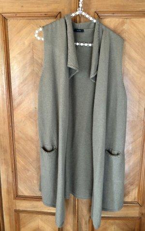 Riani Gilet long tricoté gris vert-kaki