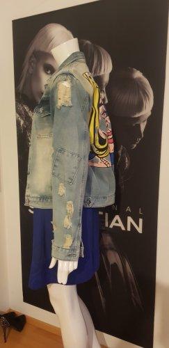 Ribkoff Kleid kobaldblau Jeansjacke blogger vintage style small