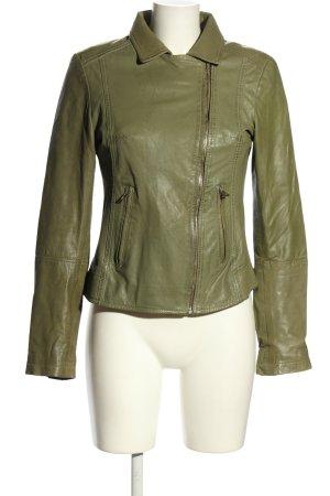 Ricano Leather Jacket khaki casual look