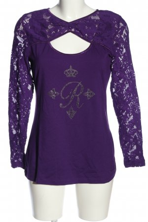 Ricarda M Long Sleeve Blouse lilac themed print casual look