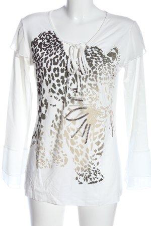 Ricarda M Longsleeve white themed print casual look