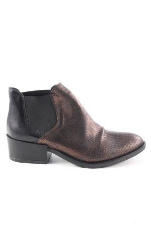 Ankle Boots braun-schwarz Allover-Druck Casual-Look