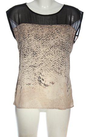 Rich & Royal ärmellose Bluse creme-schwarz Animalmuster Casual-Look