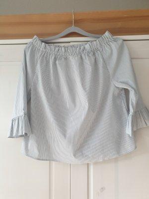 Rich & Royal Bluse Tunika Gr.36/S, Carmenausschnitt,  3/4tel Ärmel,  grau-weiß gestreift