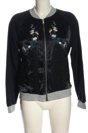 Rich & Royal Bomberka czarny-jasnoszary Wzór w kwiaty W stylu casual