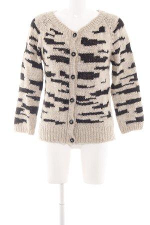 Rich & Royal Cardigan schwarz-wollweiß grafisches Muster Casual-Look