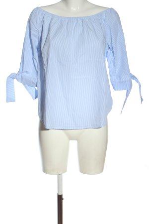 Rich & Royal Blusa alla Carmen blu-bianco motivo a righe elegante