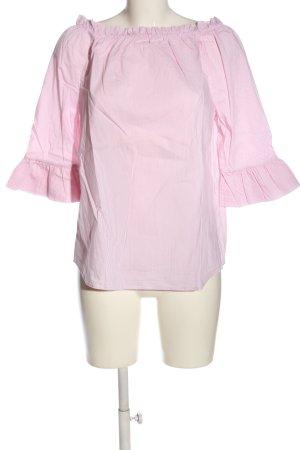 Rich & Royal Blusa alla Carmen rosa-bianco motivo a righe stile casual